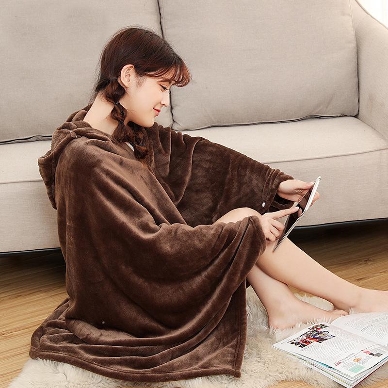 Winter Thick Comfy Hooded Plaid Blanket Sweatshirt Unicorn Warm Coats TV Hoodie Blankets Fleece Blanket Adult for Sofa Beds Kids 17