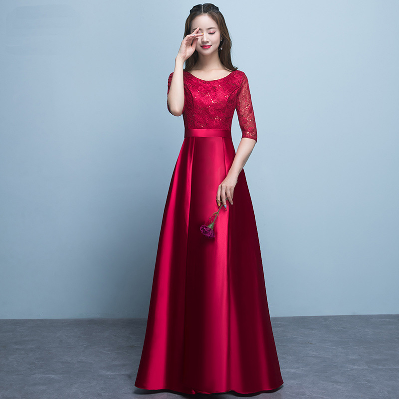 2019 New Women Wedding Bridesmaid Dress Solid Full Length Lace Qipao Female Elegant Robe Demoiselle Sexy Cotton Vestidos