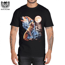 Rocksir 3d wolf t shirt mens brand Men's 3D Wolf Print t shirt Summer Short Sleeve Shirts Tops plus size Cotton Tees tops