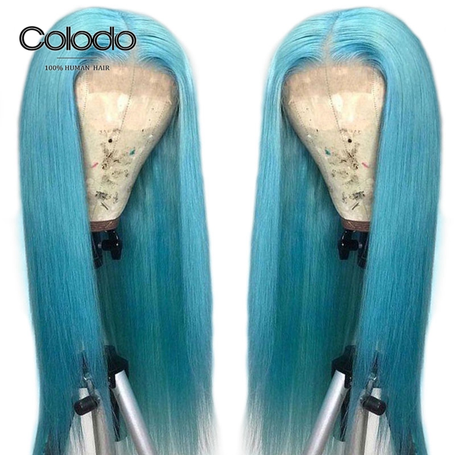 Colodo Light Blue Human Hair Wig Navy Straight Lace Front Wig With Baby Hair Brazilian Remy Hair Transparent Lace Wigs For Women