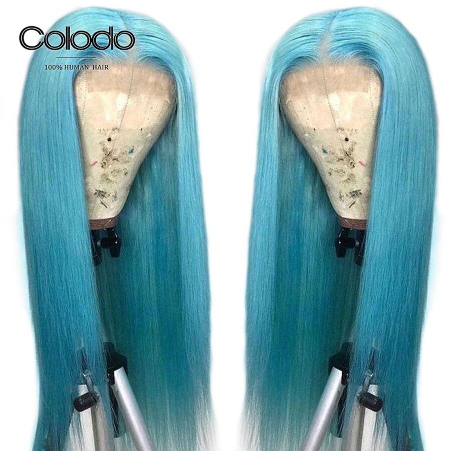 Perruque de cheveux humains bleu clair Colodo perruque avant en dentelle droite marine avec cheveux de bébé brésilien Remy cheveux perruques de dentelle transparentes pour les femmes