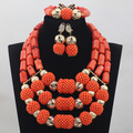 2016 novas bolas de ouro mix orange coral casamento africano contas feitas à mão colar jogo da jóia africano cj789 acessório frete grátis