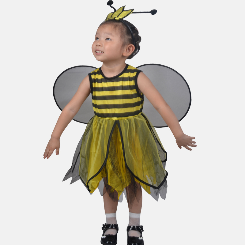 New Free Shipping Childrens Masquerade Party Bee Costume For Girls