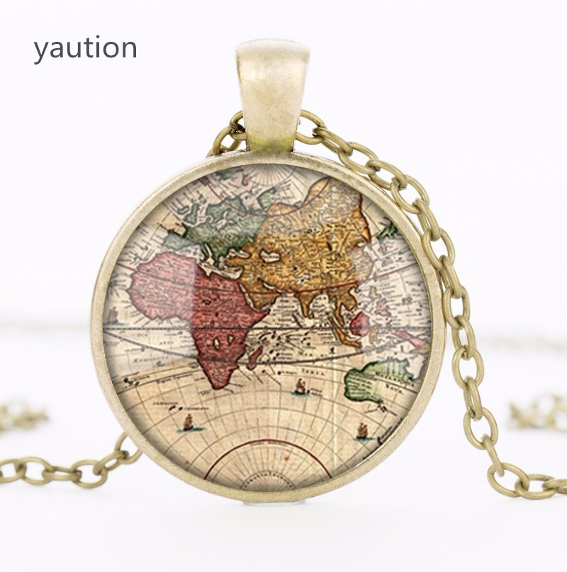 Vintage World Map Necklace 1