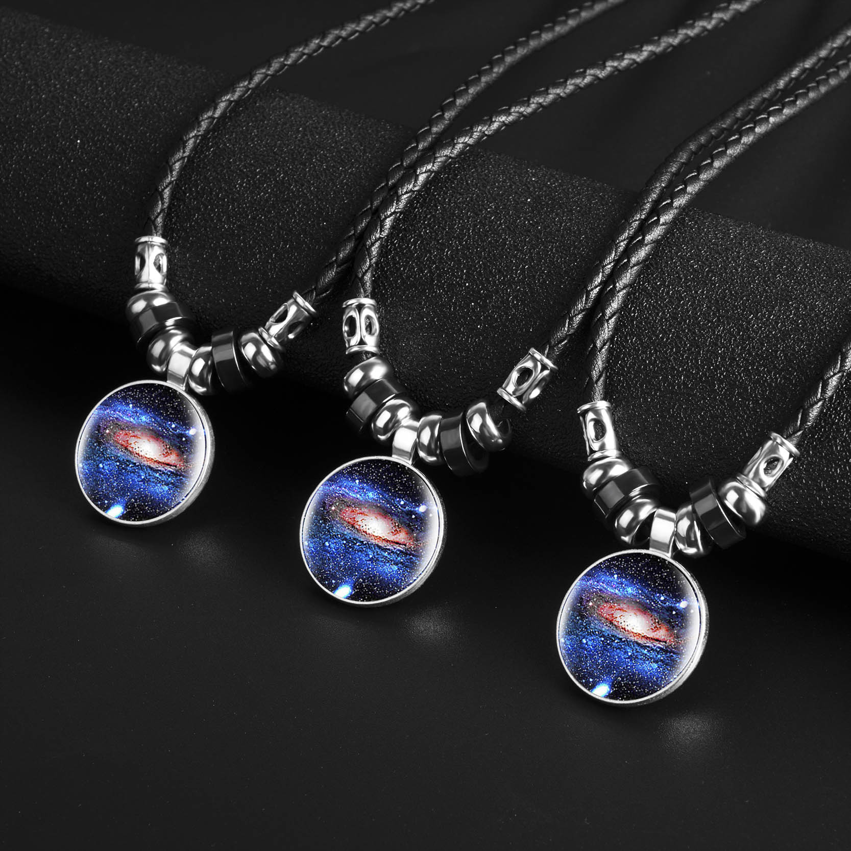 KCALOE 2019 Men Leather Necklaces Glass Nebula Galaxy Moon Pendants Punk Vintage Black Rope Chain Male Women Unisex Jewelry in Pendant Necklaces from Jewelry Accessories