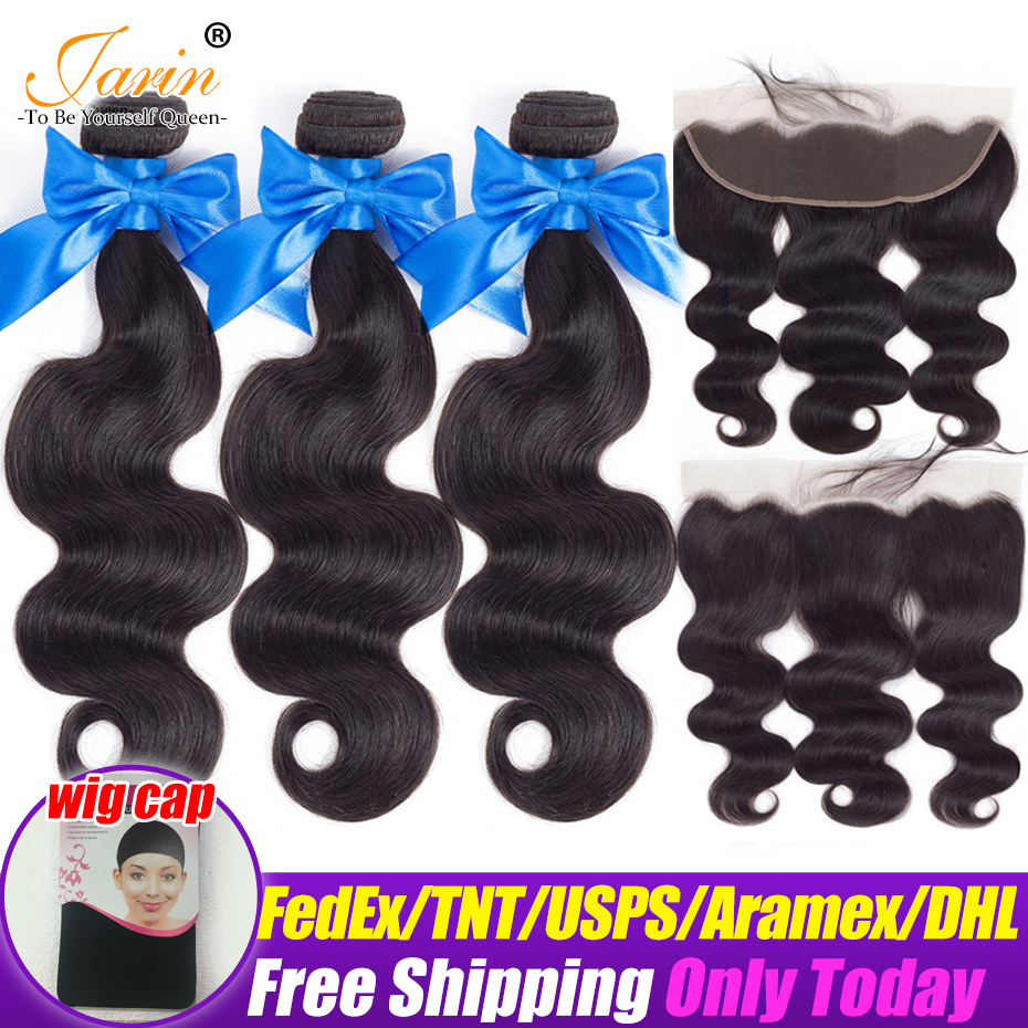 Human Hair Brazilian Body Wave Hair 3 Bundles With 13x4 Lace Frontal Closure Ear To Ear