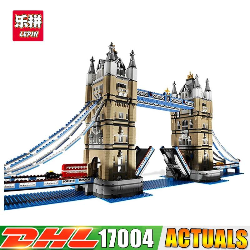 IN STOCK Lepin 17004 4295pcs London bridge Model Building Kits Brick DIY Toys for children Compatible LegoINGlys 10214 lepin 17004 city street london bridge model building kits assembling brick educational gift toys clone 10214