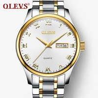 OLEVS Mens Watches Top Brand Luxury Leather Watchbands Bracelet Quartz Fashion Casual Wristwatches Calendar Clock Zegarki