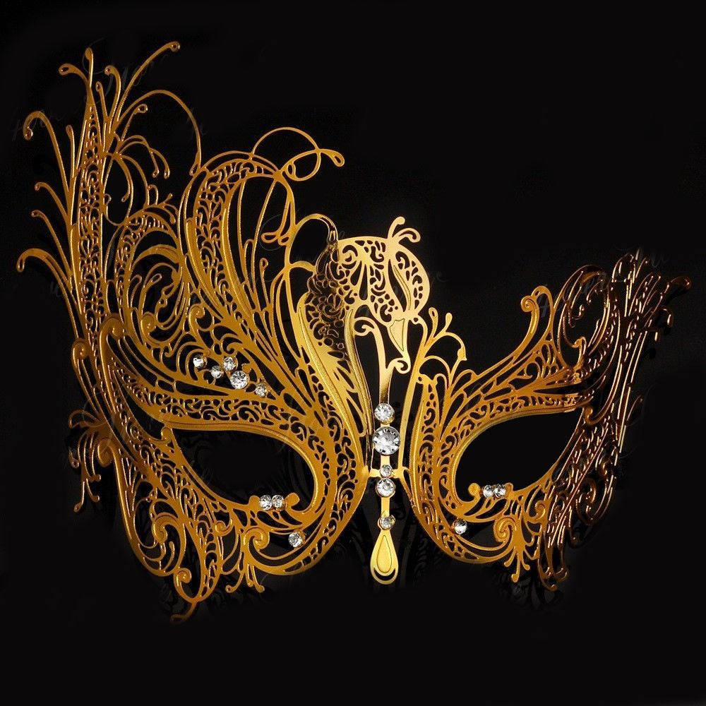Striking Rose Gold Metal Venetian Masquerade Mask with Clear Stone