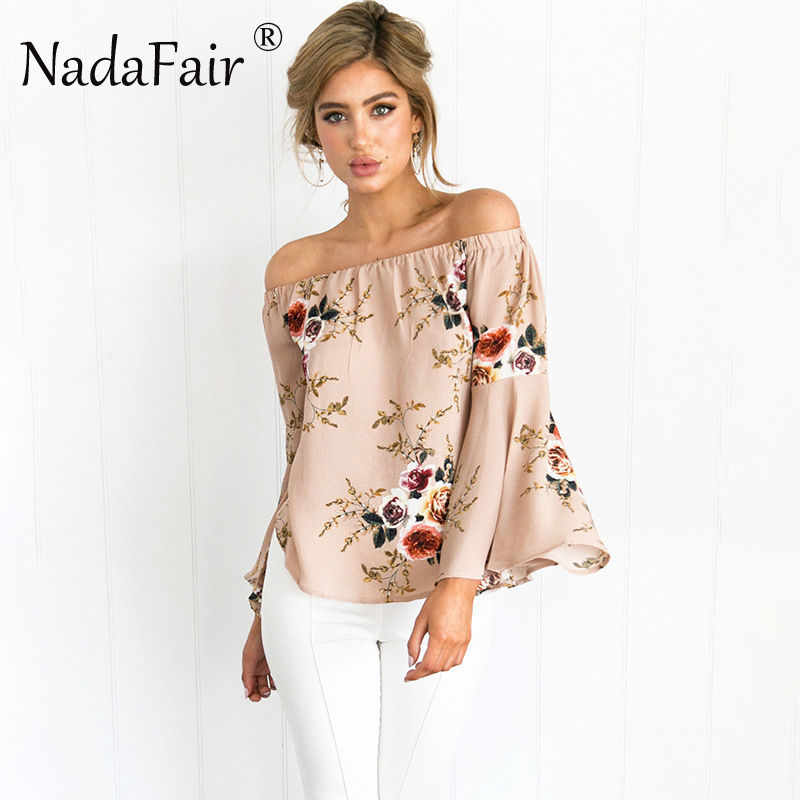 Flare Sleeve Slash Neck Floral Print Womens