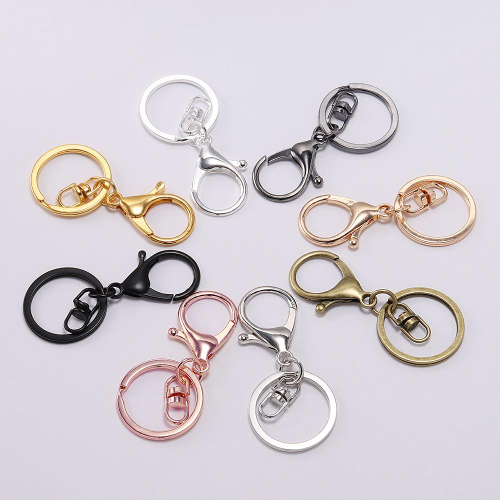 5pcs/lot Gold Silver Key Ring 30mm Keychain Long 70mm Lobster Clasp Key Hook Chain For Keychains Jewelry Making Finding Supplies