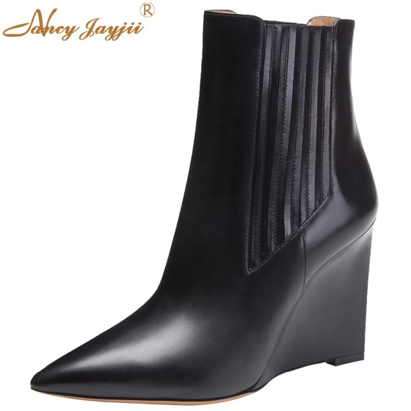 Nancyjayjii Women Mid Calf Wedges Boots Winter Fashion Black Casual Party Point Toe Shoes for Woman botas mujer plus size 5 14 women warm winter shoes wedges round toe platform lace up mid calf boots fashion square heel botas mujer
