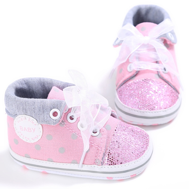 Baby Lace Shoelace Canvas Shoes Soft Sole Toddler Shoes Baby Bling Bling Sequin First Walkers Prewalker