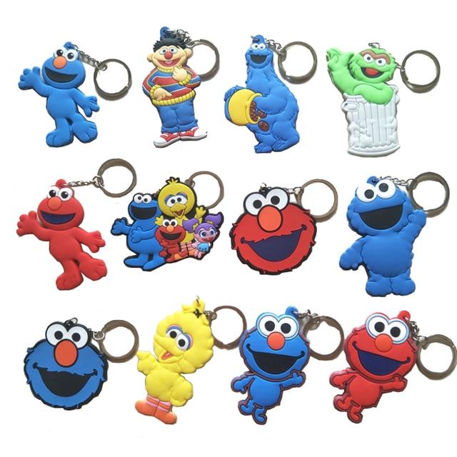 Anime Figura Keychain Engraçado Elmo Sesame Street Bert Chaveiros Chaveiros Pingentes Acessórios Localizador de Chave