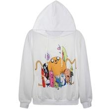 Harajuku 3D Print Adventure Finn Jake Sweatshirts Fashion Long sleeve with hat Women Hoodies Cartoon Hoody