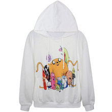 Harajuku 3D Print Adventure Time Finn Jake Sweatshirts Fashion Long sleeve with hat Women Hoodies Cartoon Hoody Hooded Pullover