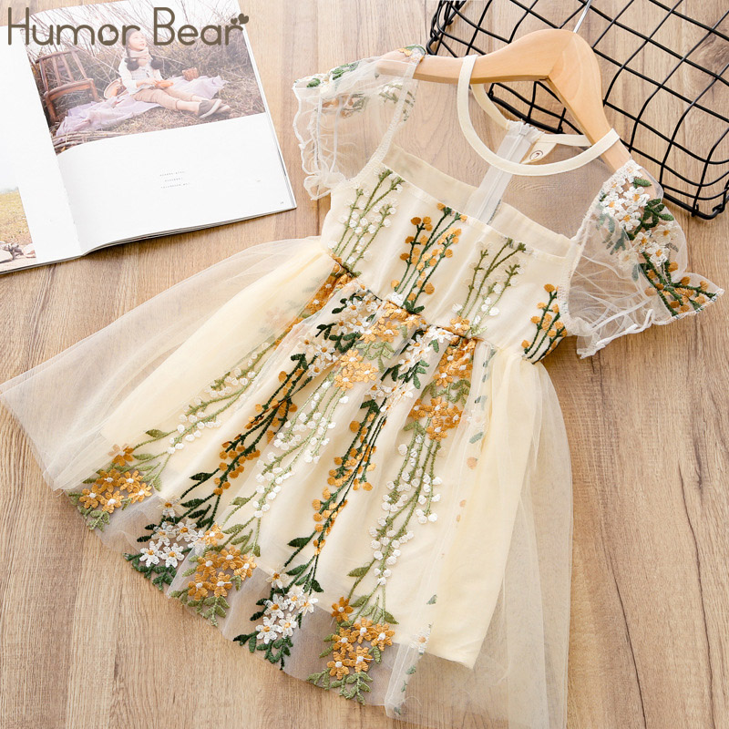 Humor Bear Summer Flower Girls Dresses Wedding Girls 6 Years Embroidery Lace Gown Princess Dress Tulle Kids Elegant girls dr
