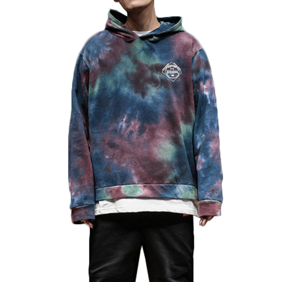 b6a28826 Japanese Skateboard Hip Hop Hoodie Graffiti Swag Tie Dyeing Psychedelic  Punk Rap Hoodies Fake Two Pieces