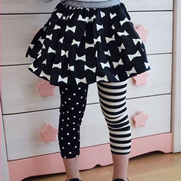 New Lovely Soft Cotton Kids Girls Dance Leggings Polka Dot Stripe Trousers Render Pants 1 9Y