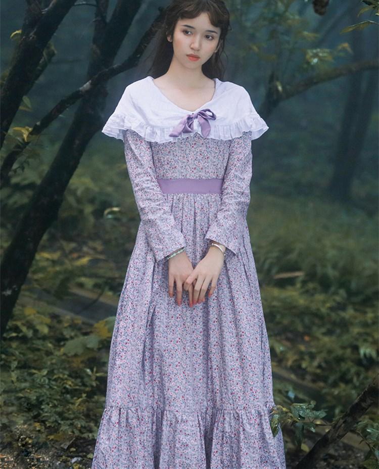 Printemps automne femmes dames Floral décontracté lâche 100% coton longue robe Vintage rétro français Lolita doux col en v à manches longues robe