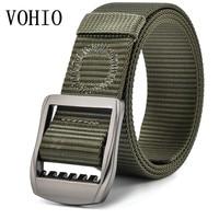 VOHIO Men Belt Big Size Military Canvas Belt 160cm Extension Men's Casual Canvas Nylon Outdoor Cinturones Hombre 180cm