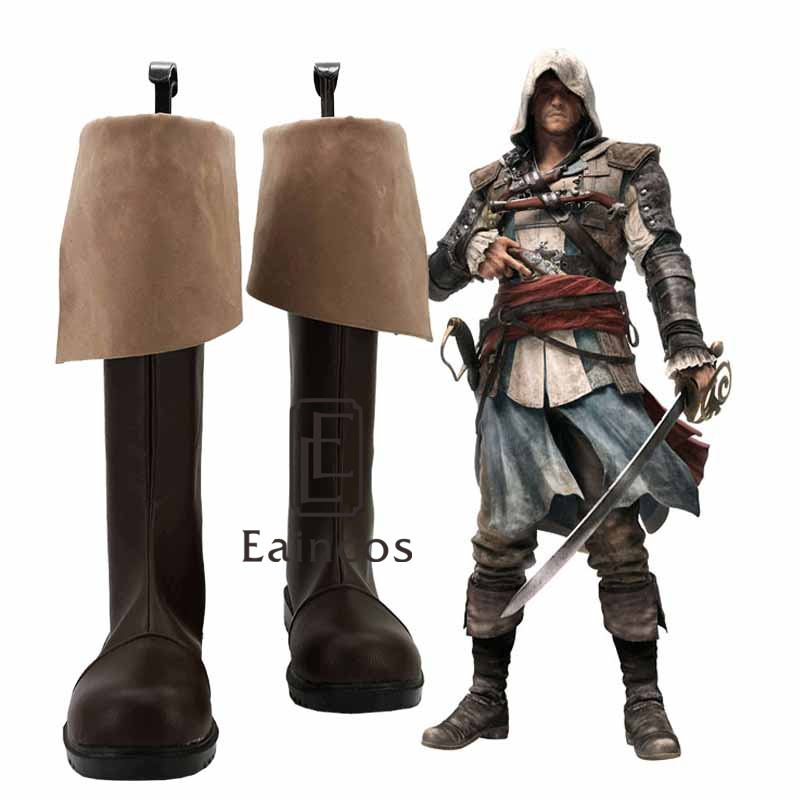 Galleria fotografica Popular Game <font><b>Assassins</b></font> <font><b>Creed</b></font> 4 <font><b>Black</b></font> <font><b>Flag</b></font> Edward James Kenway Cosplay Party Shoes Brown Boots Custom Made