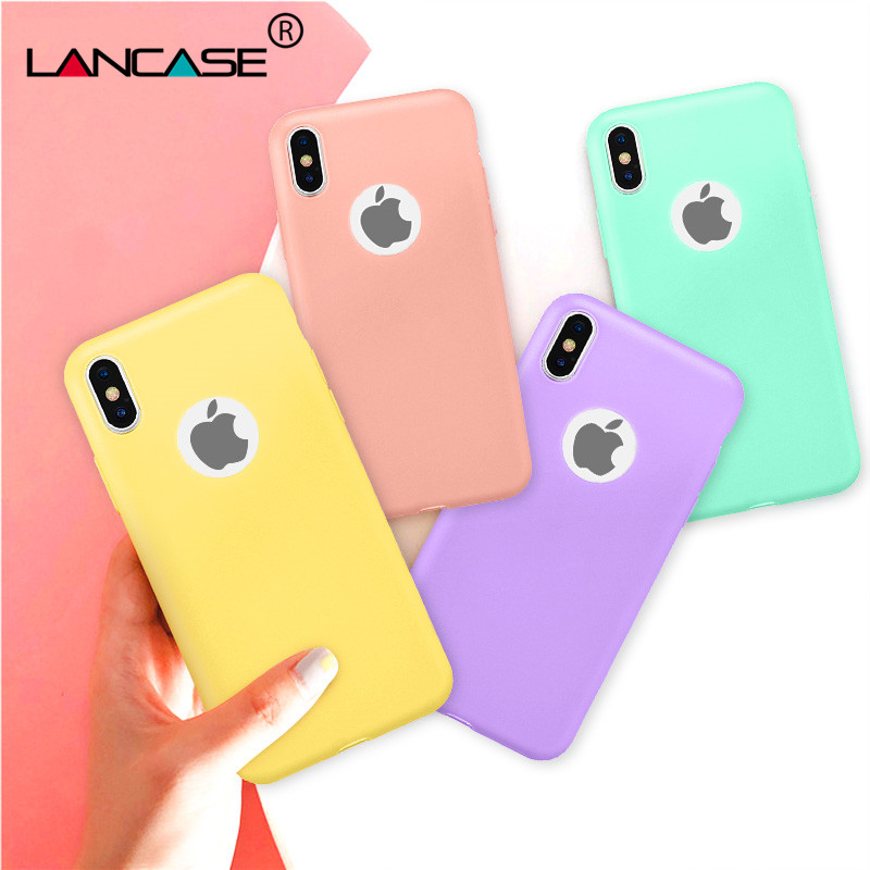 LANCASE Matte Case For IPhone 8 Case Silicone Cute Candy Color Soft TPU Cover For IPhone