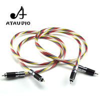 ATAUDIO Hifi Silver plated 2rca Male to 2rca Male Cable Hi end Colorful 6N 2 RCA Cable