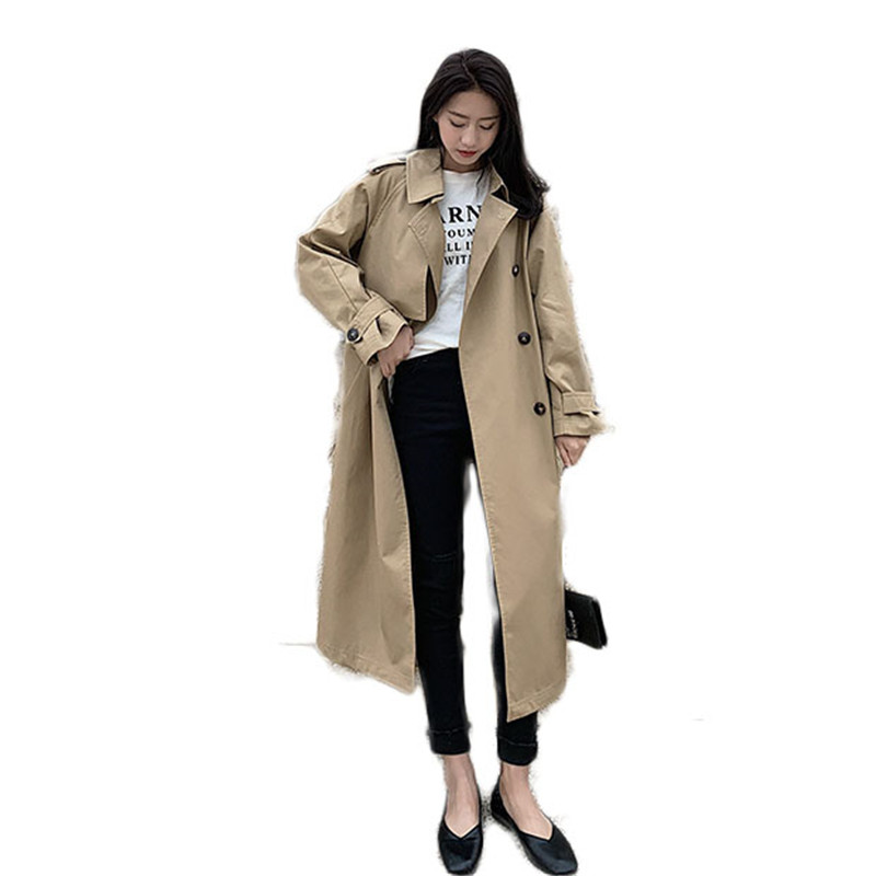 2019 Spring Autumn Women Korean Loose Belt Casual Long   Trench   Coat Ladies Outerwear Female Pocket Windbreaker Tops Overcoat M55