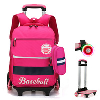 ZHIERNA Backpack Pick Girl Bag 2/6 Wheels Can Be Flash Trolley Backpack 2 pcs/sets of Wheels Detachable child Climb Stair Cute