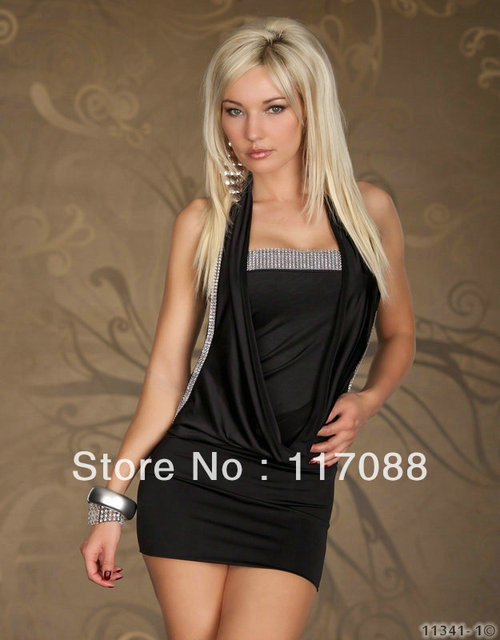 331a67c72f Free Shipping ML17650 Black Lovely Neck Cut Back Outfit Fashion Mini Dress  Sexy girls party dresses