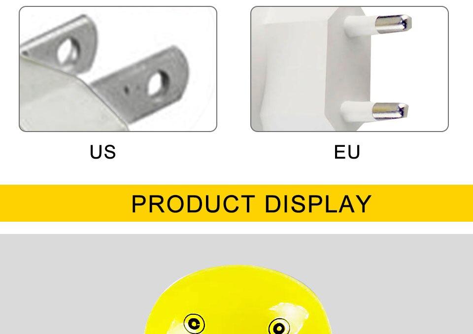 Lovely EUUS Plug Yellow Duck LED Night Light Lamp Wall Socket Light (11)