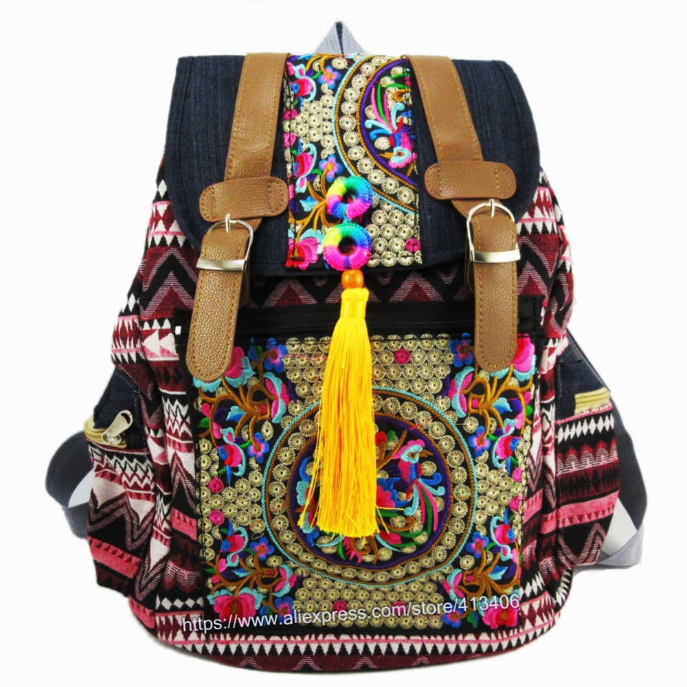 Tribal Vintage Hmong Thai Indian Ethnic Boho hippie ethnic bag, rucksack backpack bag SYS-174 crocodile skin pattern cow leather wristwatch strap watchband black size 20l