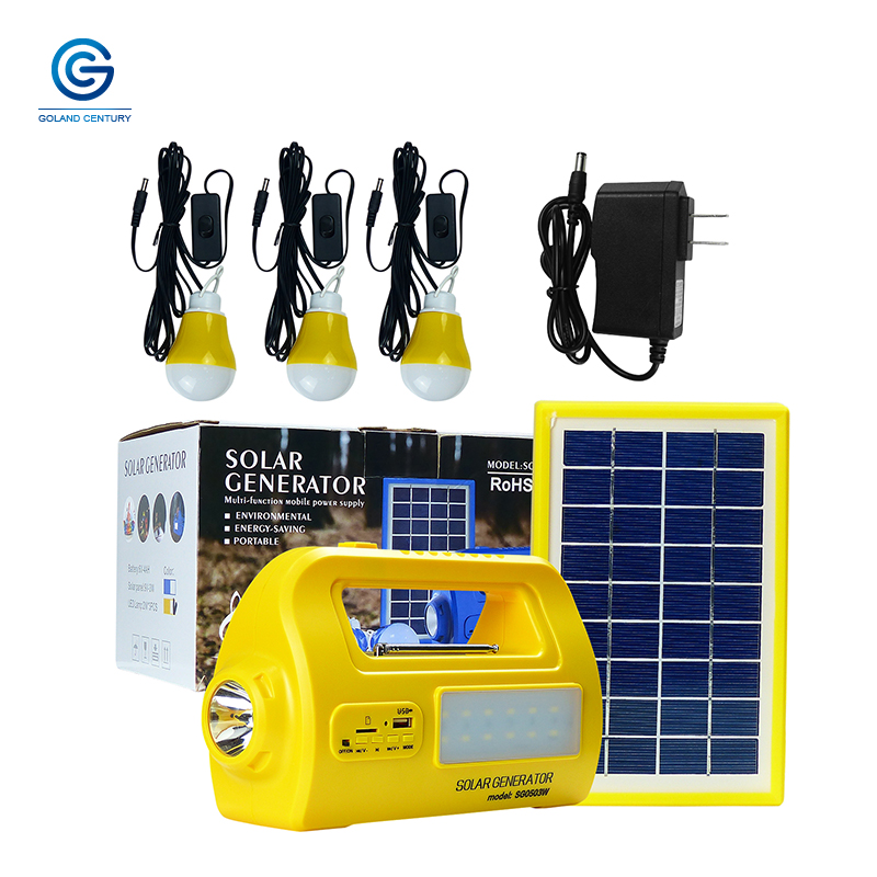 Goland Century SG0503W 6V 3W Portable Solar Lighting Kit Multifunction Home DC Solar Generator System With FM Radio AC Adapter in System from Home Improvement