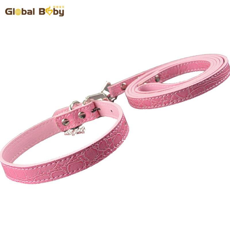 Nueva marca Gator Pu cuero 5 colores encanto de moda pequeño perro mediano collar para mascotas y correas combinadas de plomo