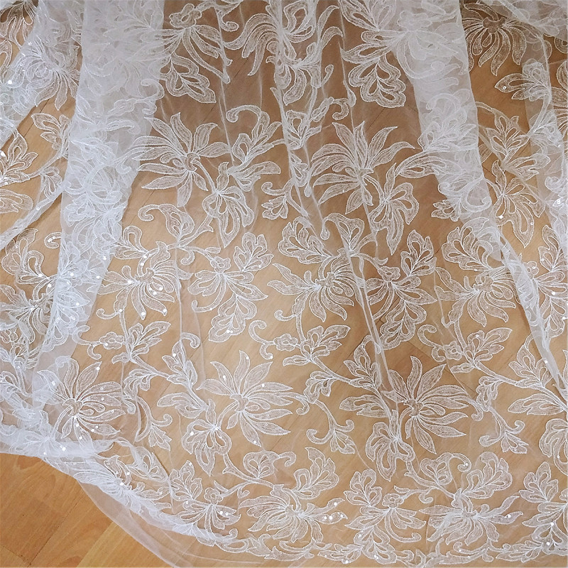 Light Gold African Attire Embroidered Organza Mesh Lace WT Stones By The Yard