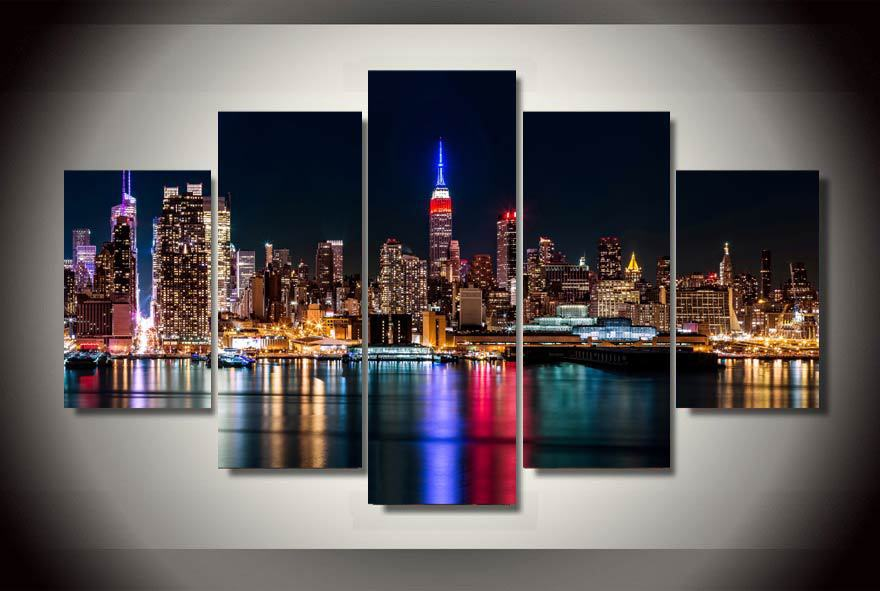 5 Panel Framed Printed Brooklyn Manhattan New York Painting Children S Room Decor Print Poster Picture Canvas Egyptian Decor
