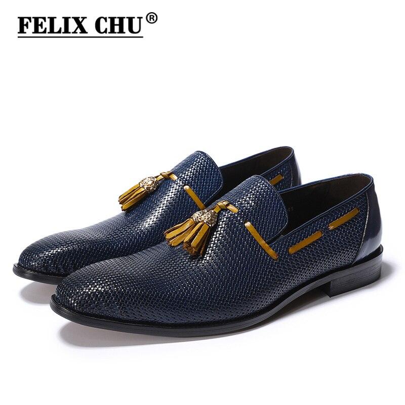 Felix CHU из натуральной кожи Для мужчин Свадебная вечеринка синий Черная обувь на выход слипоны острый носок лоферы с кисточками мужской обуви...