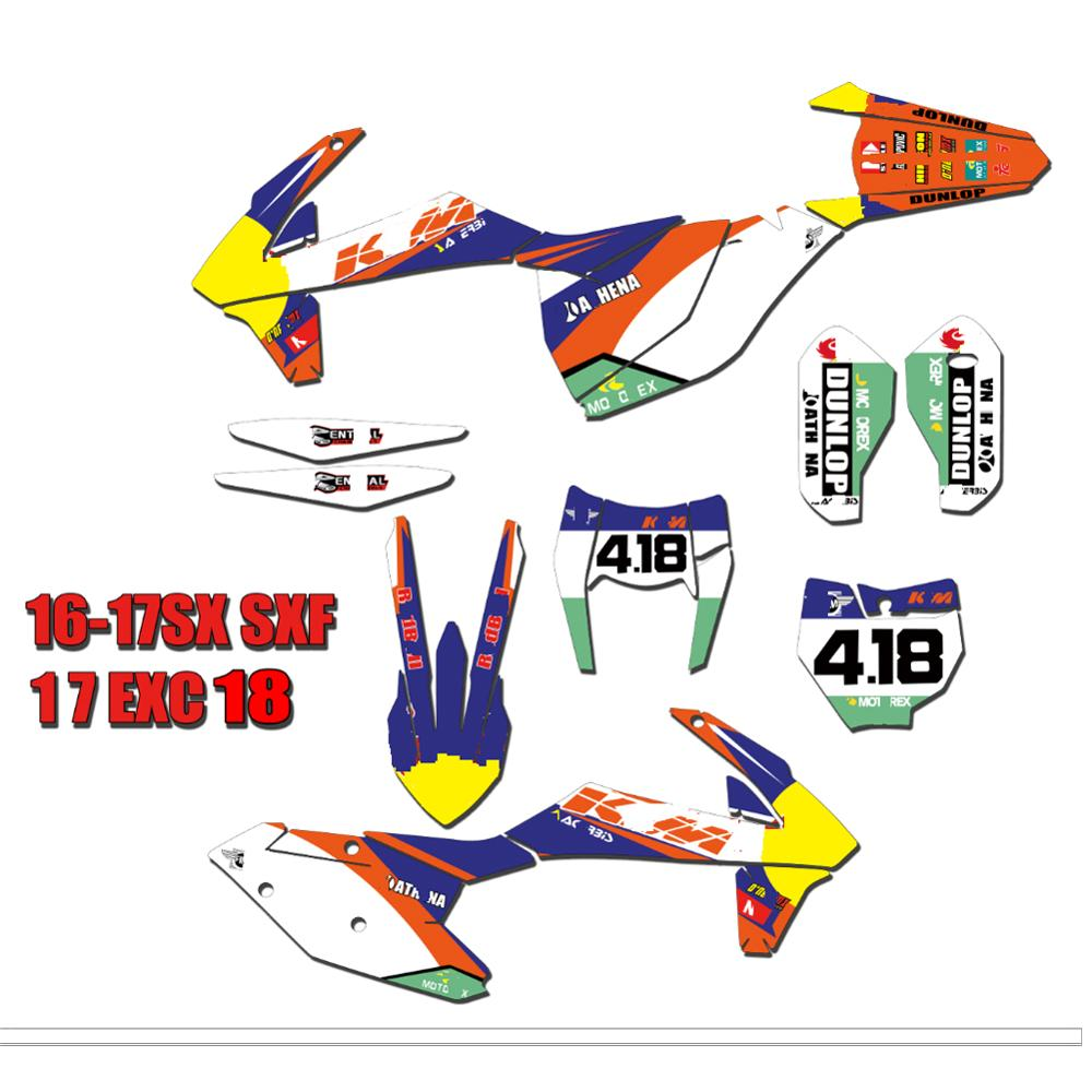 Motorcycle PVC Translucent Film Full Stickers DIY Customizable Number Personality Decals For KTM SX SXF XC XCF 2016 2017 2018