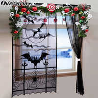 OurWarm Halloween Spitze Vorhang Panel Bat Spinne Web Fenster Panel oder Tür Panel Dekoration Halloween Party Home Decor 40 x 84