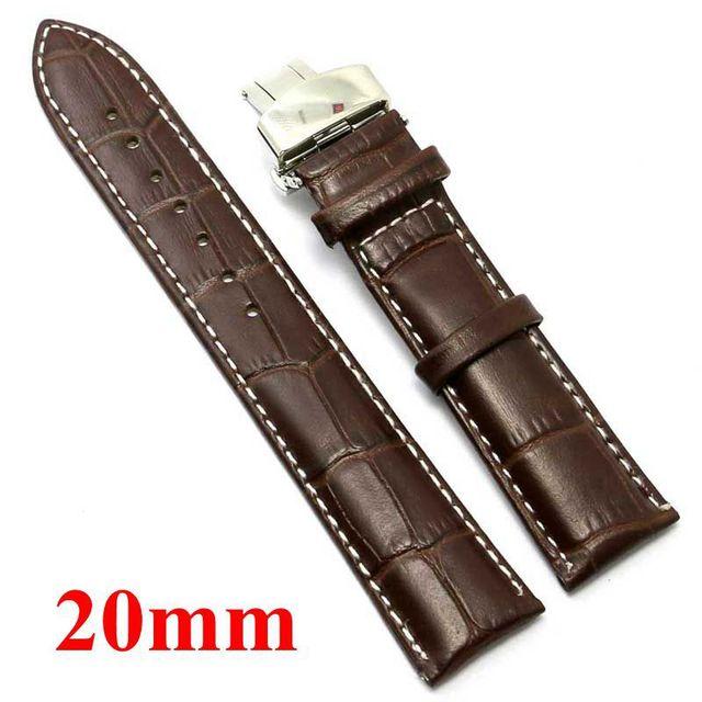 20mm Faixa de Relógio Pulseira de Couro Marrom Escuro para o Homem Relógio Com Buttefly BucklePD012220