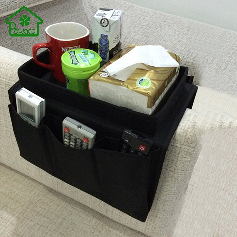 Sofa Handrail Storage Bag Couch Armrest Arm Rest Organizer Cup Phone Remote Control Holder Magazines Books