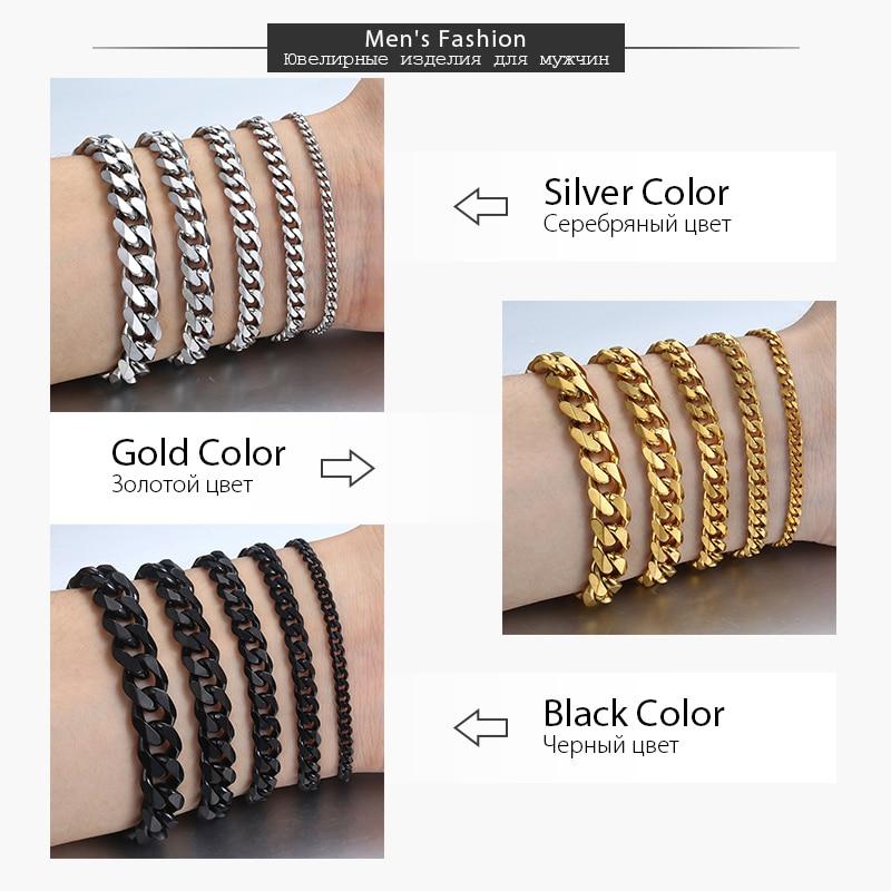 Bracelet for Men Women Curb Cuban Link Chain Stainless Steel Mens Womens Bracelets Chains Davieslee Jewelry
