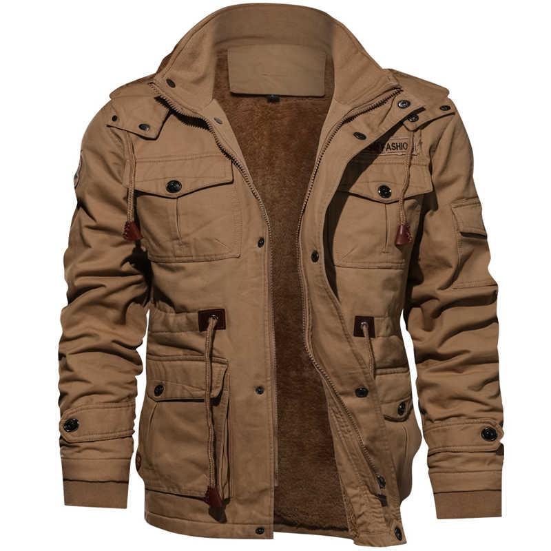 2020 ジャケット男性厚く暖かい軍事爆撃機戦術的なジャケットメンズ生き抜くフリース通気性フード付きウインドブレーカーコート 4XL服