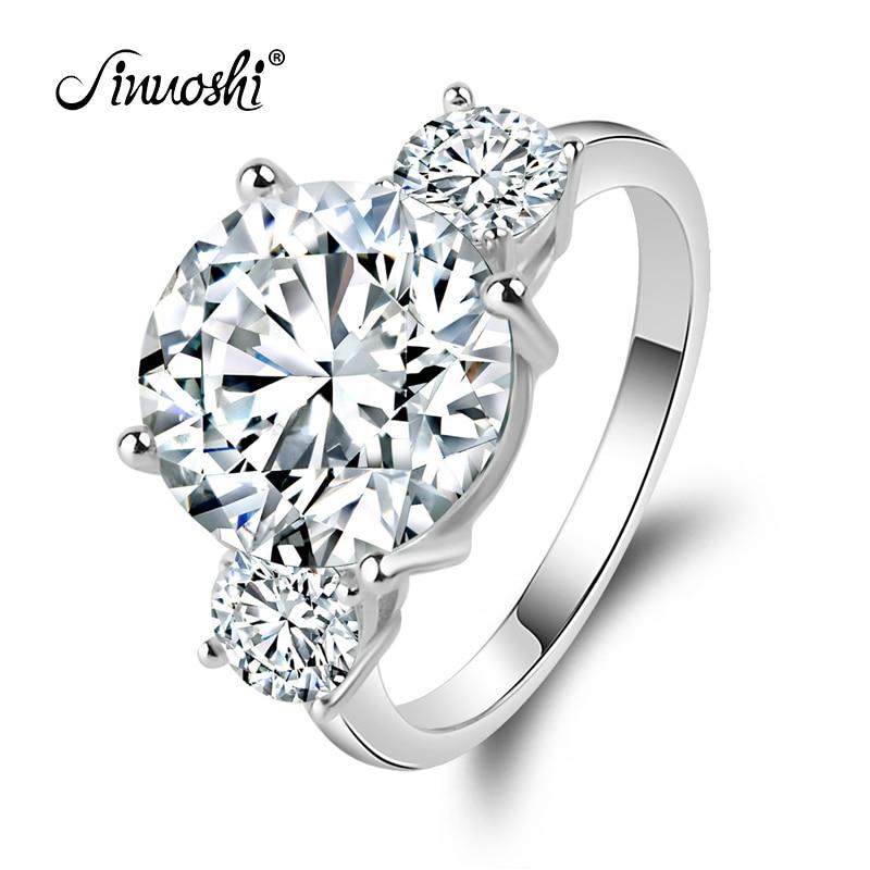 Luksuzni vjenčani prsten okrugla oblika 5 karatnog okruglog kroja obećava nakit 925 Sterling Silver vjenčani prsten za žene