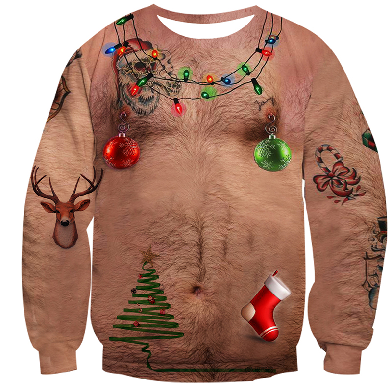 Autumn Winter Novelty Male Tops Ugly Christmas Sweater Chest Hair Print Casual Unisex Santa Mens Pullover Christmas Hoodies