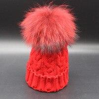الشتاء مصبوغ بوم بوم الفراء محبوك الملتوية قبعة صوفية قبعة coloful سوبر كبير متعدد الألوان الفراء الراكون قبعة الجملة قبعة بينيس