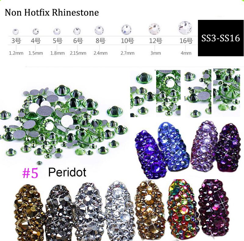 1440pcs SS3 SS16 Nail Art flat back nail rhinestones Non Hot Fix Flat Back Glass Rhinestones Diamante Gems Light green in Rhinestones Decorations from Beauty Health
