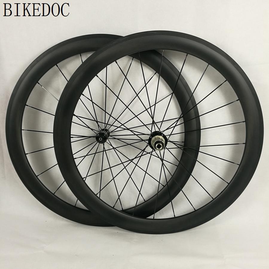 BIKEDOC Carbon Wheels Clincher 700C Straight Pull R36 Hub Roue Carbone 50MM Pneu Wheels Bike Road 25MM Width U Shape(China)
