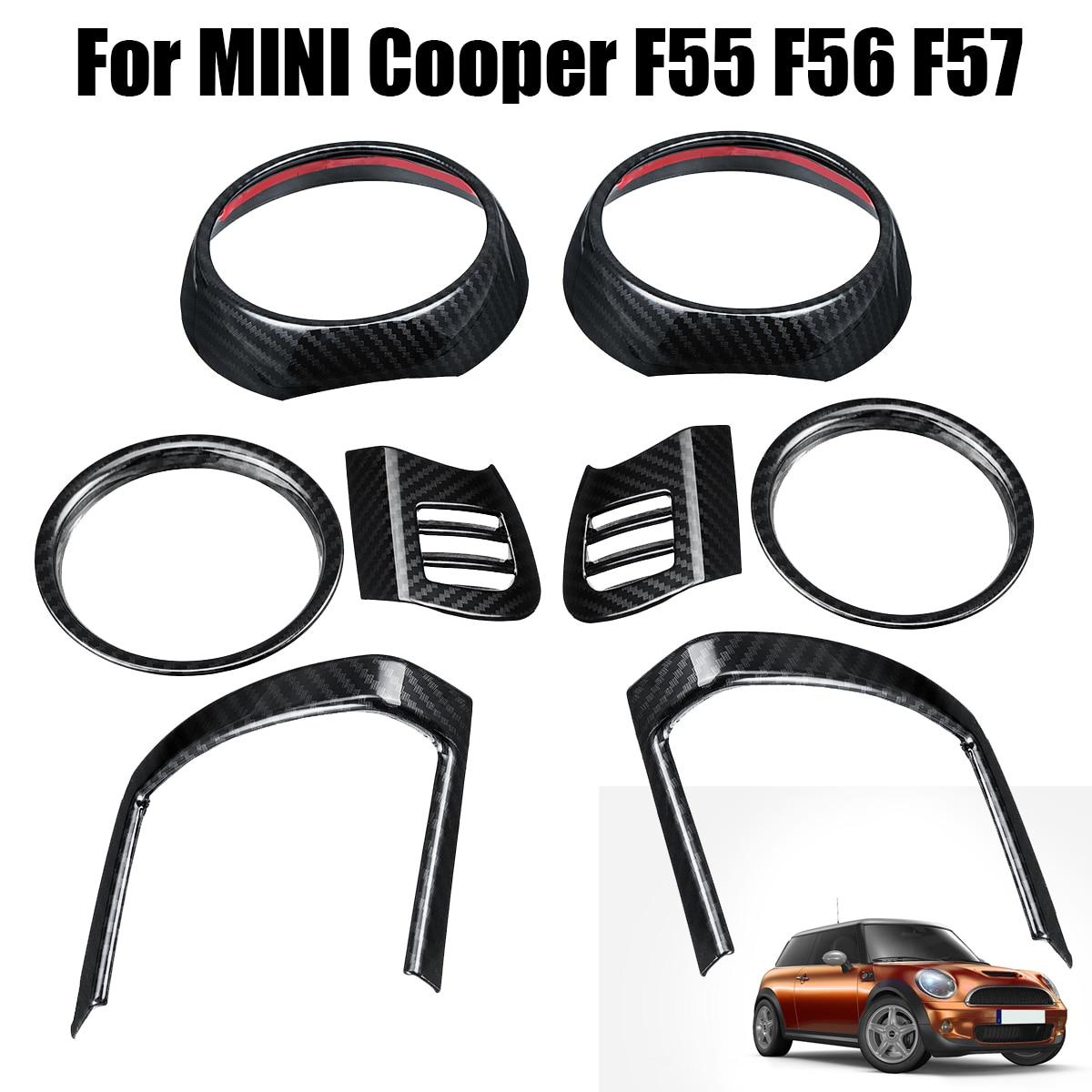 8 pièces tableau de bord évent couverture pour BMW pour MINI pour Cooper F55 F56 F57 fibre de carbone intérieur moulures Auto sortie d'air garnitures autocollants